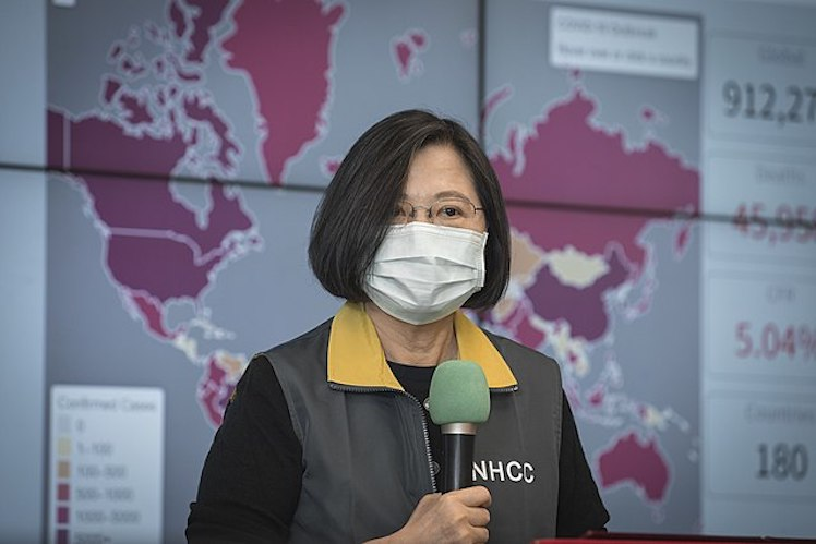 Taiwanese president Tsai Ing-wen inspects the Central Epidemic Command Center. Photo viaTaiwan Presidential Office