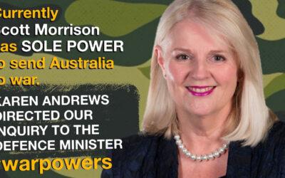 Karen Andrews on war powers reform